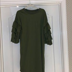 Tiered sleeve T-shirt dress